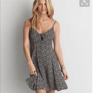 American Eagle Black Floral Button Down Sun Dress